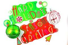 Rot und grün frohe Feiertage Stockbild