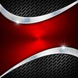 Rot und Metallgeschäfts-Hintergrund Stockfotografie