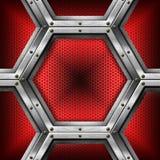 Rot und Metallhintergrund mit Hexagonen Lizenzfreies Stockfoto