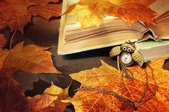 Rot und Orange färbt Efeublattnahaufnahme Alte Bücher mit Uhren nähern sich Ahornblättern Stockfotografie