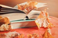 Rot und Orange färbt Efeublattnahaufnahme Stapel alte Bücher auf dem Tisch unter dem trockenen gelben Ahornherbstlaub Stockfotos