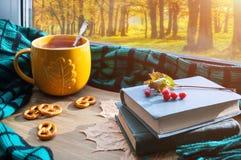 Rot und Orange färbt Efeublattnahaufnahme Tasse Tee, Plätzchen, alte Bücher und Plaid auf Fensterbrett und Herbstszene draußen Stockbilder