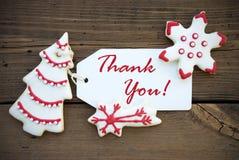 Rot und weiße Weihnacht dankt Ihnen zu beschriften Lizenzfreies Stockbild