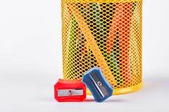 Rot und zensiert Bleistiftspitzer Lizenzfreie Stockfotos
