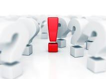 Rot-unterschiedlicher Ideen-Ausruf Mark In Question Problems Symbol Lizenzfreie Stockfotos