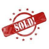 Rot verwittert verkauft! Stempel-Kreis- und Sterndesign stock abbildung