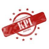 Rot verwitterter KPI-Stempel-Kreis und Sterne entwerfen Stockbilder