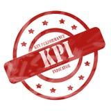 Rot verwitterter KPI-Stempel kreist ein und spielt die Hauptrolle Stockfotos
