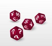Rot würfelt mit Symbolen des Euros, des Dollars, des Pfund, des Yuan, der Yen und der Frage Auch im corel abgehobenen Betrag Lizenzfreies Stockbild