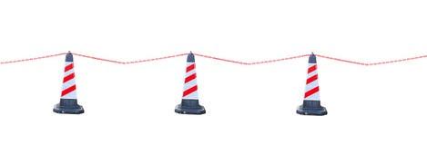 Rot-weißer Verkehrskegel und -kette Isoalted für Sperrgebiet Stockbild