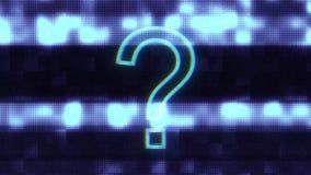 Rotação azul do sinal da pergunta do wireframe no laço sem emenda do fundo da animação da exposição da interferência do pulso ale ilustração royalty free