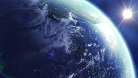 Rotação da terra com o Sun 360 graus Noite e dia Animação dada laços HD 1080 ilustração royalty free