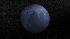 Rotação da terra na noite - 3D rendem ilustração stock