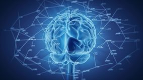 Rotação de brilho do cérebro humano, rede digital ilustração stock