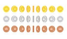 A rotação dourada, de prata e de bronze das moedas ajustou-se para a animação do jogo ilustração stock