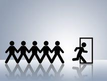 Rota da evacuação da emergência da porta de saída da via de fuga ilustração royalty free
