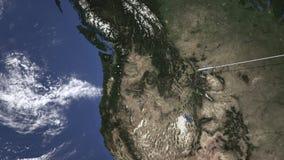 Rota de um voo plano comercial a Portland, Estados Unidos no mapa, animação 3D vídeos de arquivo