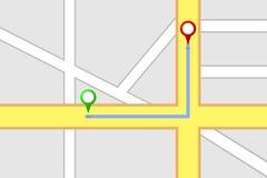 Rota do destino do mapa de estradas Imagem de Stock Royalty Free