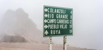 Rota 13 a Iruya na província de Salta, Argentina Imagem de Stock Royalty Free