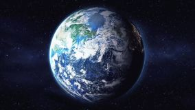 Rotación de la opinión de la tierra del planeta del espacio en un fondo negro 1920 stock de ilustración