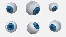 Rotación de muchas bolas de los ojos azules almacen de video