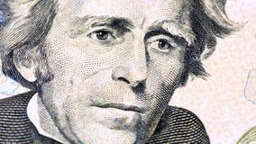 Rotación del billete de dólar del retrato del presidente de Jackson los E.E.U.U. almacen de metraje de vídeo