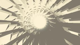 Rotación sin fin del túnel circular gris con un anillo de la luz blanca en el centro, lazo inconsútil animaci?n monocrom?tico stock de ilustración