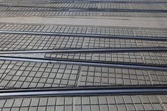 Rotaie attraversate del tram Immagini Stock