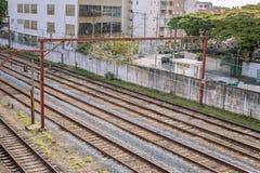 Rotaie del sottopassaggio dello são Paulo in dettaglio immagini stock libere da diritti