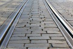 Rotaie del tram sul fondo stradale cobbled immagine stock