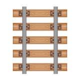 Rotaie dettagliate di legno di vista superiore della strada della strada ferrata Fotografia Stock Libera da Diritti