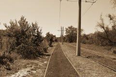 Rotaie di piegamento del tram Fotografie Stock Libere da Diritti