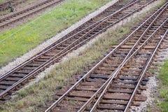 Rotaie e traversine del ferro Immagine Stock