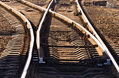 Rotaie sulla ferrovia fotografia stock