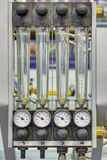 Rotameters. (flow rate measurement, float flowmeter) in the cooling system of injection molds Royalty Free Stock Photos