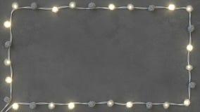 Rotang string lights on concrete background 3D render. Rotang string lights on concrete background. 3D rendering illustration stock illustration