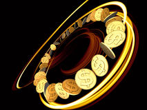 Rotação dourada do dólar Foto de Stock