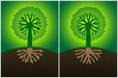 Rotar det abstrakta träddiagrammet för uppsättning två med filialerna av i form av pilar och kronan, Arkivbild