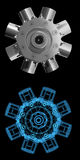 Rotarry engine (3D xray blue). Rotarry engine (3D xray blue transparent collage dual Royalty Free Stock Photography