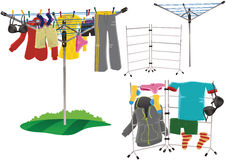 Rotary clothes drier and clothes horse Royalty Free Stock Photo