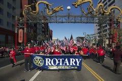 Rotary Club, 115o Dragon Parade de oro, Año Nuevo chino, 2014, año del caballo, Los Ángeles, California, los E.E.U.U. Fotografía de archivo