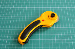 Rotary cutter. On measure mat close up Stock Image