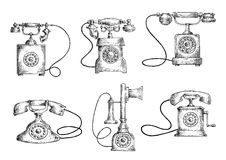 Rotary dial and candlestick phones sketches. Retro telephones sketches with vintage candlestick and rotary dial phones. Obsolete communication technology objects Royalty Free Stock Image