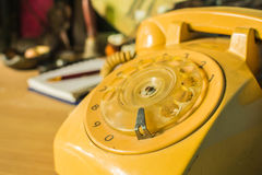 The rotary dial phone Stock Photo