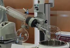 A rotary evaporator in chemical laboratory stock image