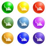 Rotary grass cutter icons set vector vector illustration