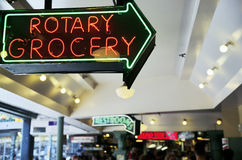 Rotary Grocery sign at Seattles Pike Place Market Royalty Free Stock Images