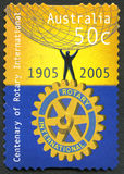 Rotary International australisk portostämpel royaltyfri bild