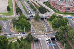 A rotary intersection in the Netherlands. Aerial view of a rotary intersection in Rotterdam, the Netherlands Stock Photos