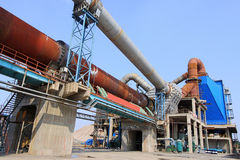 rotary kiln and electric dust removal equipment in a cement fact Royalty Free Stock Images
